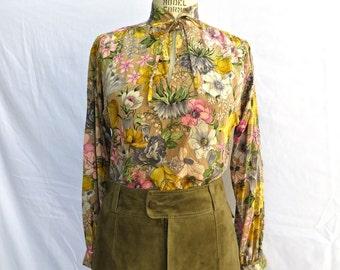 Vintage 1970's/Silk Floral Blouse with Tie Neck/Alan Austin/70's Floral Silk Top