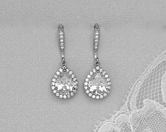 Teardrop Crystal Bridal Earrings, Crystal Bridal Earrings, Bridal Jewelry, Wedding Jewelry, Bridesmaid Jewelry CHARLIE