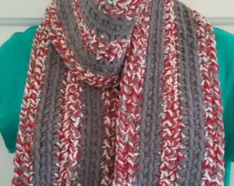 Scarf - Red, Gray and White