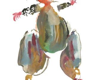 "Original Watercolor, Abstract Figure Painting, Surreal Art, Fashion Illustration, 6"" x 6"" - 187"