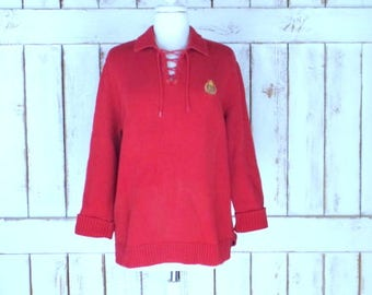 Thick ribbed red cotton Ralph Lauren pullover sweater/red collared Lauren sweater/large