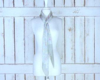 Vintage Liz Claiborne pastel floral print long silk scarf/silk scarf headband/vintage scarf belt