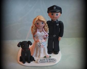 Wedding Cake Topper, Custom Wedding Topper, Bride, Groom and Dog, Policeman, Nurse, Anniversary, Personalized, Polymer Clay, Keepsake