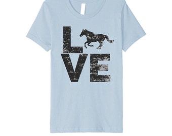 Love, horse, shirt, vintage, destressed, animal, top, t-shirt