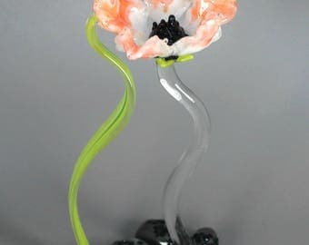 Salmon Poppy Flower Sculpture - Lampwork Art Glass - Nature Inspired Home Decor