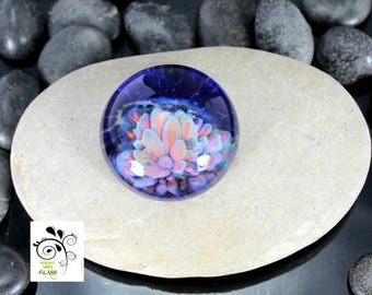 Indigo Water Bloom - Lampwork Glass Cabochon - Jewelry Making Supply - 23mm