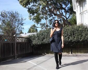 Vintage 80's little black sleeveless button up dress / S