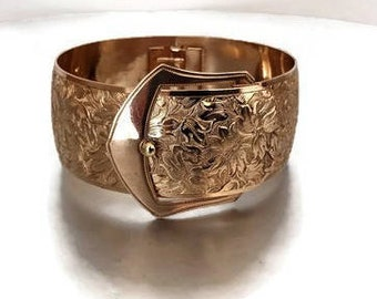 Antique Gold Belt Buckle Bracelet. Victorian Edwardian Bangle Cuff Bracelet. Gold Fill, Aesthetic Era, Engraved Flowers. Victorian Jewelry