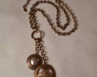 MARJORIE BAER JEWELRY / Pendant Necklace / Mixed Metals / Brass / Silver / Lucky Clover / Heart / Embossed / Designer / Signed / Accessory