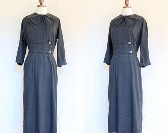 vintage 1950s gray sheath dress   50s Fourell fitted gray