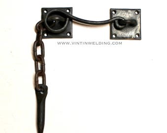 """Hand Forged Iron """"Peg and Eye"""" Latch with Mounting Plates by VinTin"""