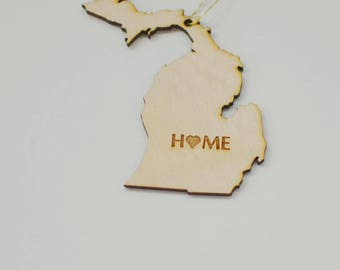 Natural Wood HOME Michigan State Ornament
