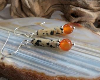 carnelian earrings  WARM. dalmatian jasper earrings. sterling silver earrings. orange earrings. simple. casual earrings. natural stones.