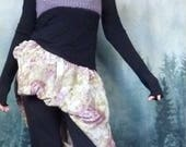 Reserved - Old Posy Bodice, hand knitted dusky lilac crop bodice in luxury yarn with Sanderson floral panel