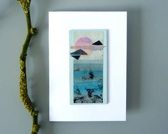 Minimal seascape collage artwork, unique paper and wood gift art card