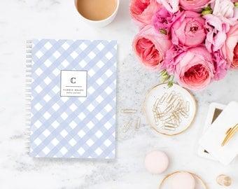 Bullet Journal Planner Weekly Personalized Notebook Gingham Custom Stationery Monogram Journal Agenda Organiser Goals