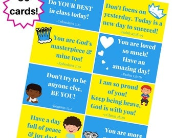 Scripture Inspired Lunch Box Notes for Boys - Instant Download
