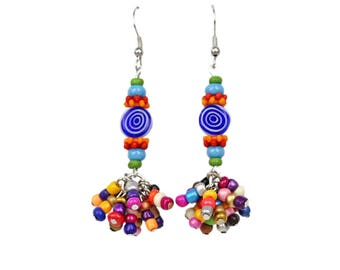 Dangle Bead Earrings Colorful Bohemian Look With Glass and Resin Beads with Hypo Allergenic Ear Wires