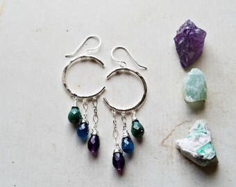 Peacock Moon Earrings, Gemstone Crescent Dangle, Crescent Moon Chandelier, Emerald Chandelier Dangle