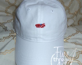 LADIES Crawfish Lobster with Bow Mini Design Baseball Cap Hat LEATHER strap Monogram Preppy Summer Bachelorette Pigment Dyed