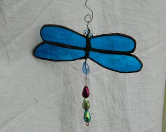 Dragonfly Mobile Suncatcher Stained Glass Blue