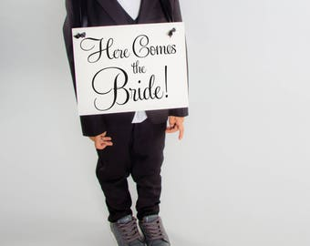 Here Comes The Bride Modern Wedding Sign | Flower Girl Ring Bearer Banner Handmade in USA | 1882 BW