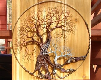 "Metal Tree Of Life Forest wall art, Walk Softly Speak Softly, wood metal gemstone wall hanging decor, 16"" original art"