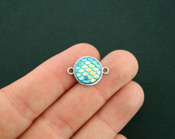 4 Mermaid Connector Charms Blue Scale Antique Silver Tone 20mm x 14mm SC5849CON NEW5