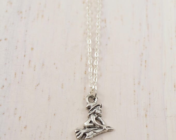 Halloween Wicked Witch Necklace in Silver