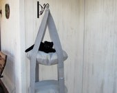 Outdoor Cat Tree, Distressed Gray & Blue Grey Stripe, 2 Level Kitty Cloud Cat Bed, Hanging Cat Bed, Pet Furniture, Cat Tree, Catio Furniture
