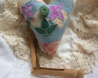 Quilt Heart Collage Ornament Cottage Christmas Valentine Primitive Bowl Filler Farmhouse Decor