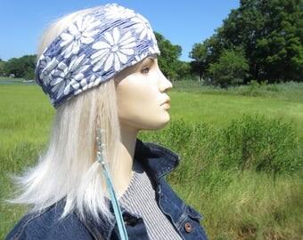 Bohemian Hippie Flower Headband Yoga Hair Wrap Floral Denim Printed WIDE Knit Hair band Turban Hair Wrap A1949