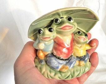 Frogs under an Umbrella Ornament 1960's