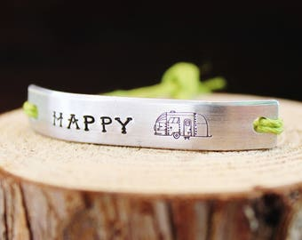 Bracelet Happy Camper Inspirational ONE Custom Hand Stamped Jewelry Name Tie On Hemp Cord Personalized Friendship Positive Affirmation