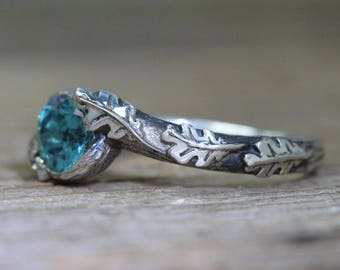 London Blue Topaz Leaf Ring, Oak leaves London Blue Topaz Leaves Ring, Silver Leaf Ring, Nature Ring, Forest Ring, Natural Floral Ring
