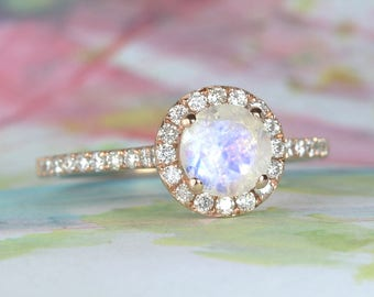 Halo moonstone engagement ring, rose gold engagement ring, moonstone and diamond ring, unique promise ring, birthstone ring, vintage ring