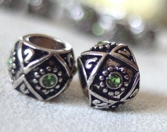 8pc - Silver with Black Enamel and Green Rhinestone large hole beads, 8mm wide x 8mm, hole diameter 5mm, package of 8