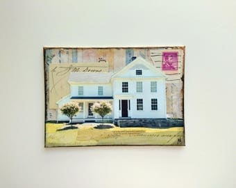 """Original Art, 5x7"""" Canvas Panel, Old Building, Old Home, Historic Home, White House, Mixed Media Art, Architectural Art """"Down Home"""""""