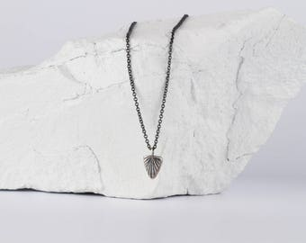 Oxidized Silver Spark Necklace - Hand carved necklace - Geometric Necklace - Organic Texture - Triangle Necklace