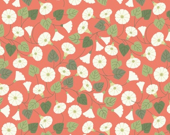 Granny-pop-out-of-beds On Peachy Coral  A254.2 - THE HEDGEROW - Lewis and Irene - By the Yard