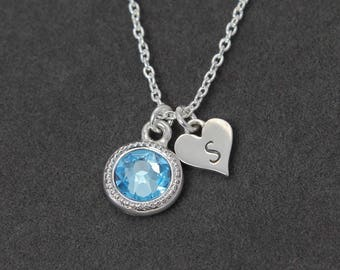 Aquamarine Necklace, Personalized Initial Birthstone Necklace Sterling Silver, March Birthday Gift for Mom, March Birthstone Necklace