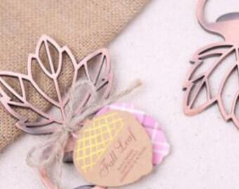 Set of 100 vintage maple leaf metal bottle opener favors, fall wedding, plane, travel favor, Party Favor,