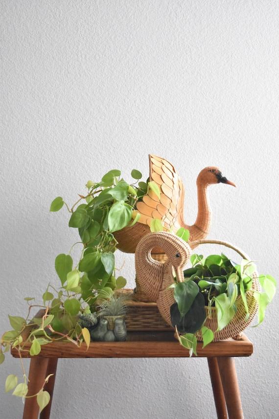 stunning boho woven rattan bird swan basket planter / duck / sculpture