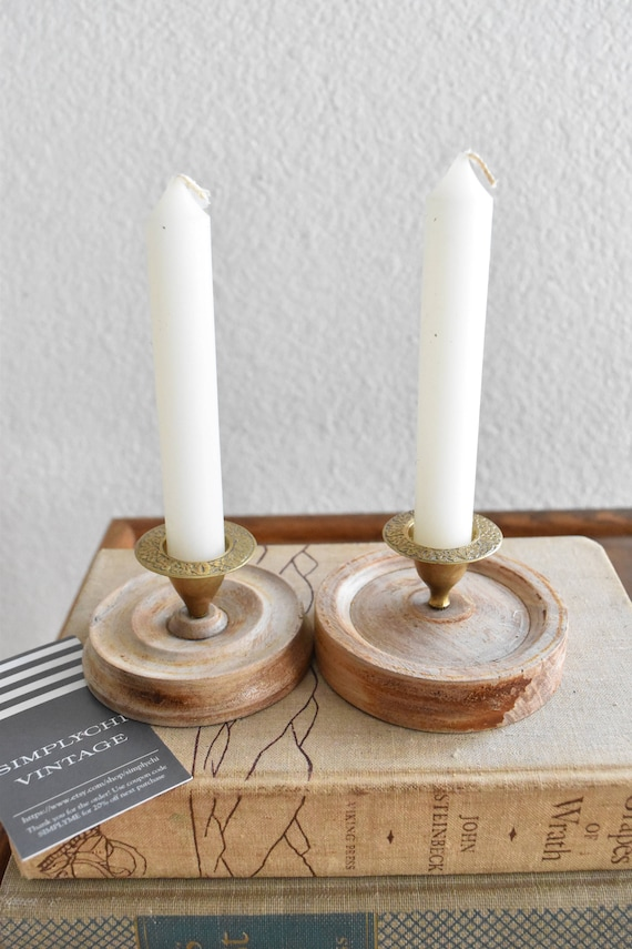 pair of brass wood candle holders // set of 2