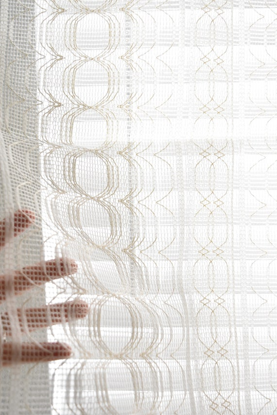 white lace geometric floral window curtain panel