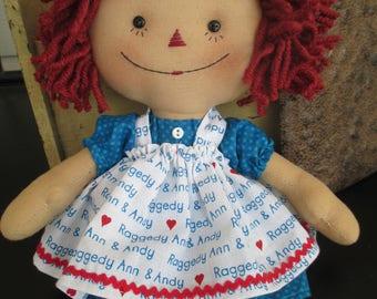 Small Rageddy Ann doll with apron
