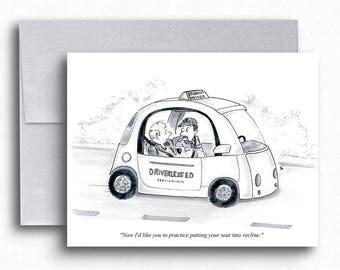 Self Driving Car Cartoon Greeting Cards Driverless Car Drivers Ed Funny Cartoons Student Driver Traffic School Future Cars Funny Art Cards