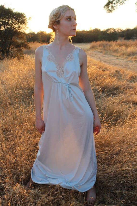 ATHENA Slip Dress 1970's Vintage Night Gown Lingerie Stunning Lace Neckline Nightie Maxi Length