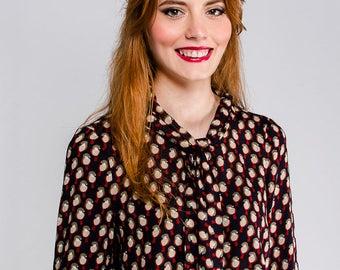 SAMPLE SALE! Size M Mod secretary blouse birds 60s collar- tea blouse scooter