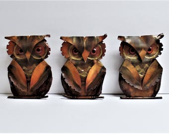 3 vintage OWL wall hangings 1970's metal art decor set of 3